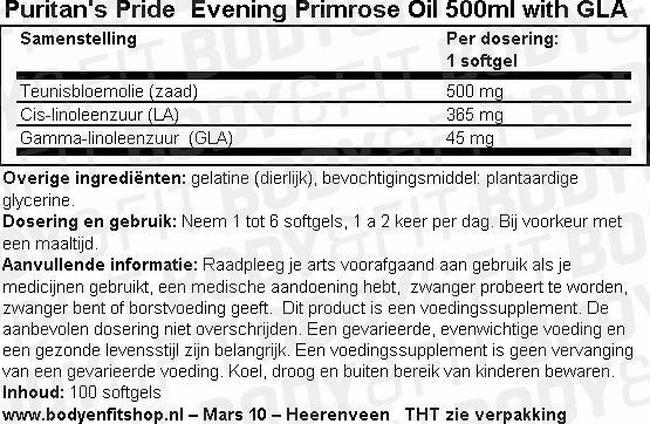 Evening Primrose Oil 500ml with GLA Nutritional Information 1