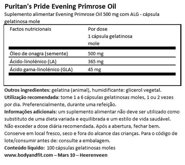 Evening Primrose Oil 500 mg with GLA Nutritional Information 1