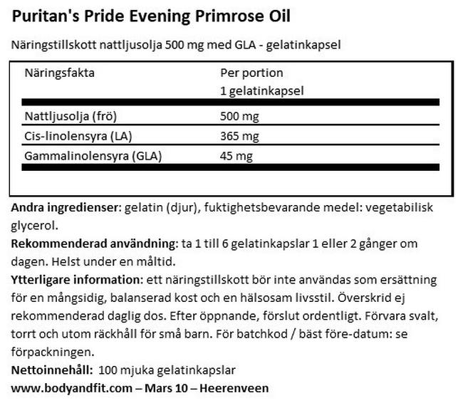 Evening Primrose Oil 500mg with GLA Nutritional Information 1