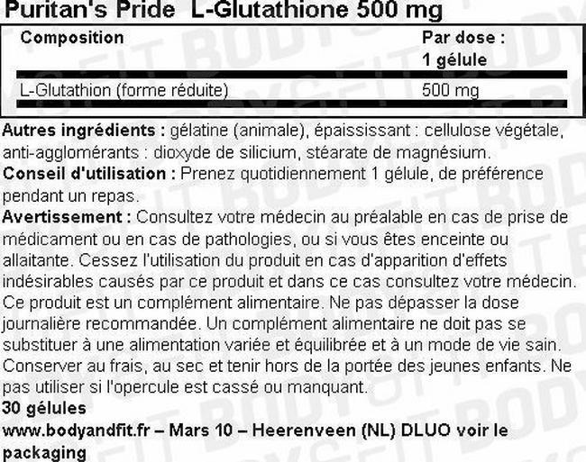 L-Glutathione 500 mg Nutritional Information 1