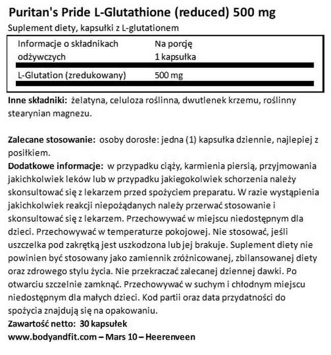 Glutation 500 mg Nutritional Information 1