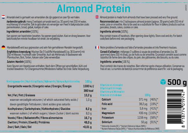 Amandel Proteïne Nutritional Information 1