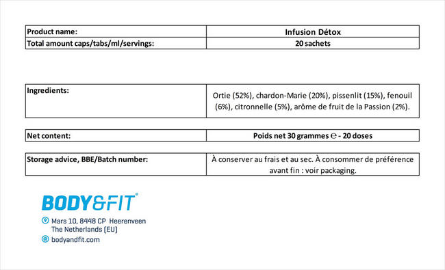 Infusion Détox Nutritional Information 1