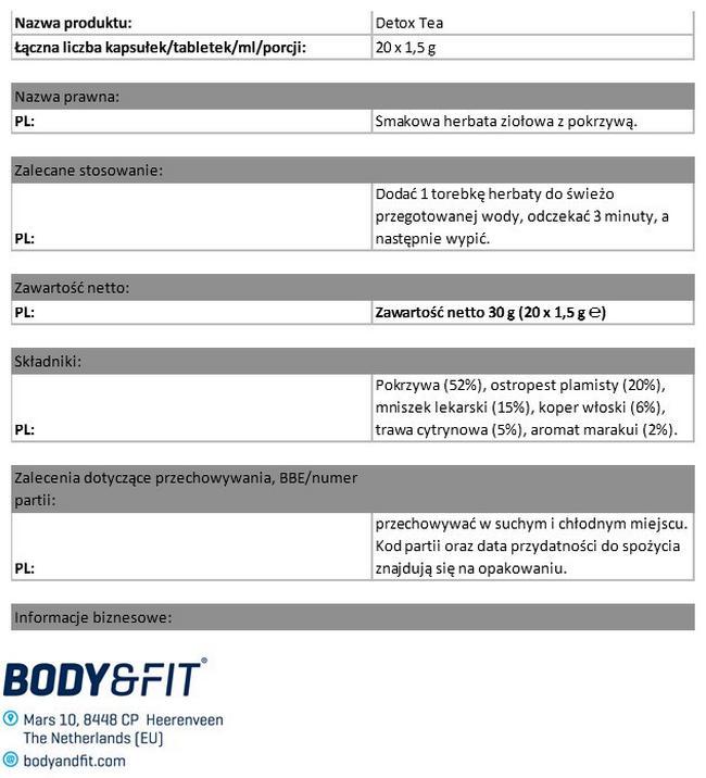Herbata Detox Nutritional Information 1