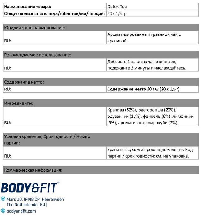 Чай «Детокс» Nutritional Information 1