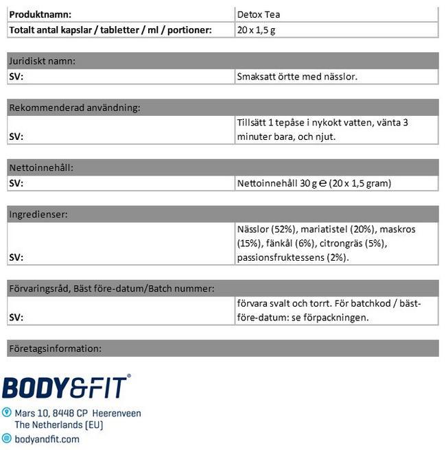 Detox Tea Nutritional Information 1