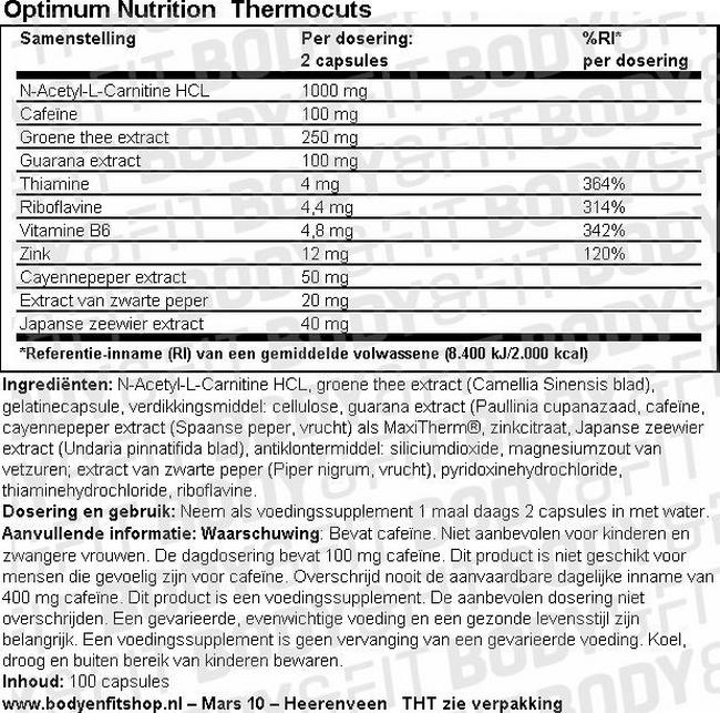 Thermocuts-100 capsules Nutritional Information 1