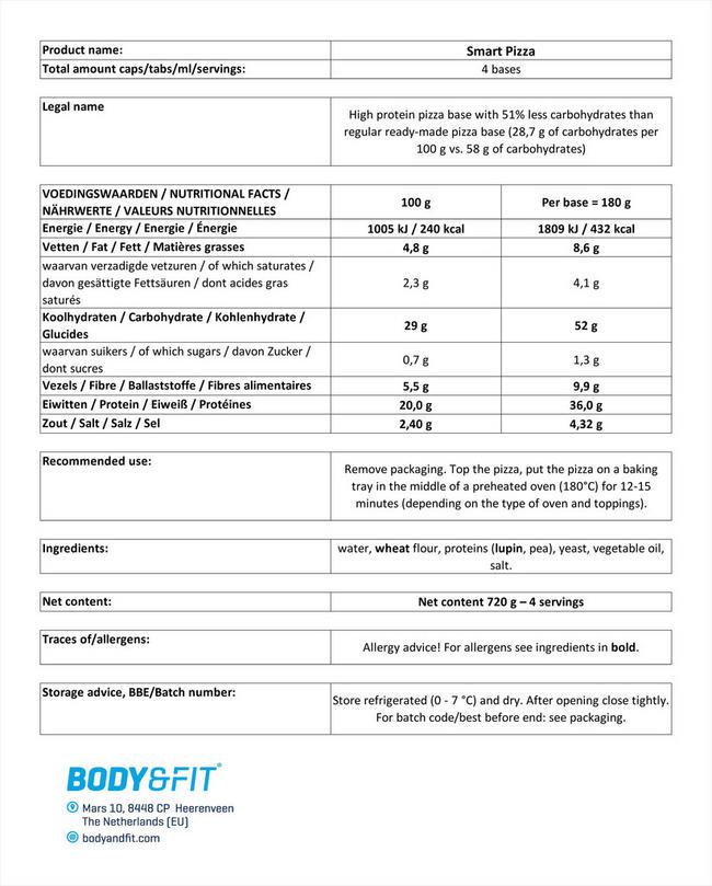 스마트 피자도우 Nutritional Information 1