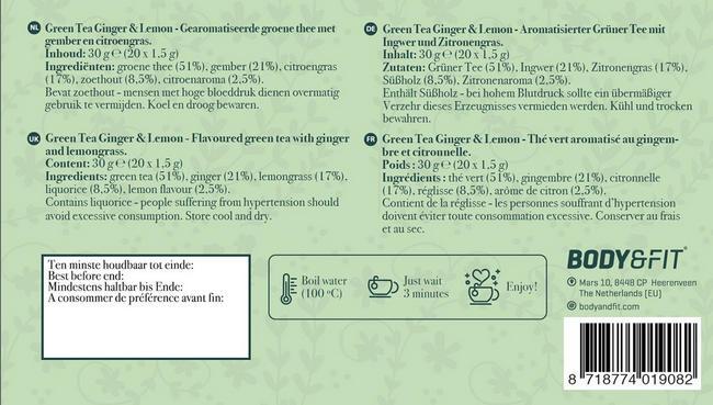 Grüner Tee mit Ingwer und Zitrone Nutritional Information 1