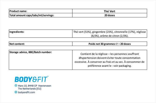 Thé Vert Nutritional Information 1