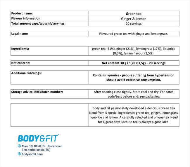グリーンティー Nutritional Information 1