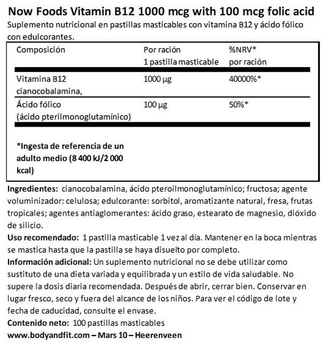 Vitamin B12 1000 µg with 100 µg folic acid Nutritional Information 1