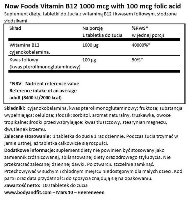 Vitamin B12 1000 mcg with 100 mcg folic acid Nutritional Information 1