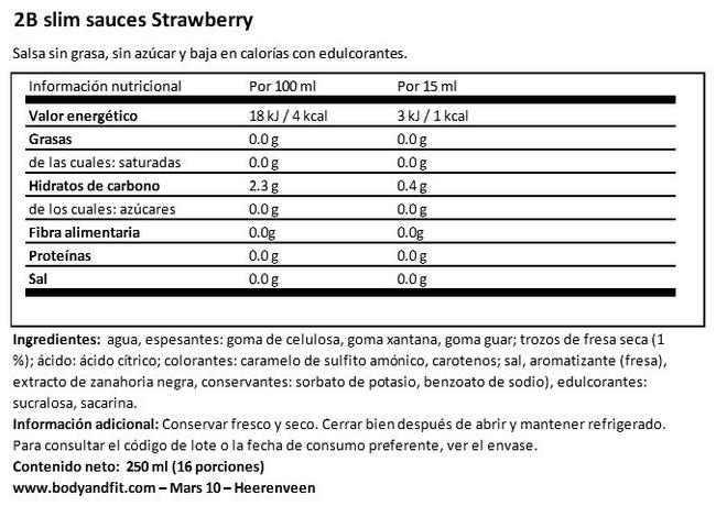 2bslim Salsa de Fresa Nutritional Information 1