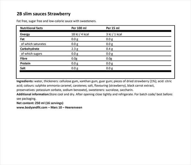 2Bスリム ストロベリーソース Nutritional Information 1