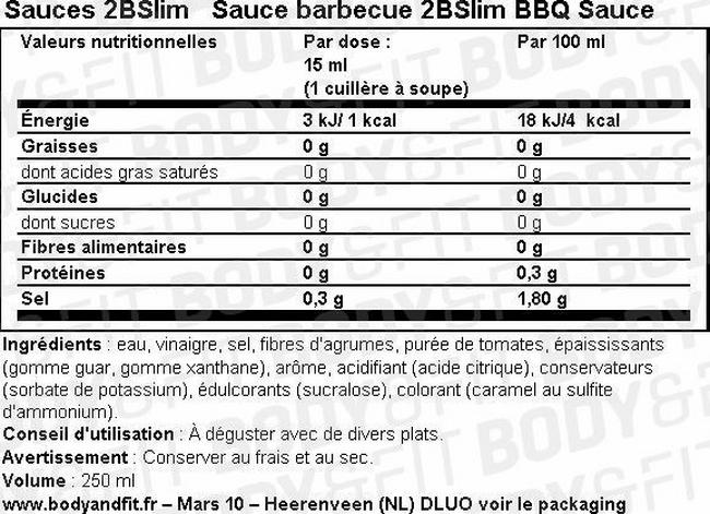 Sauce barbecue 2BSlim BBQ Sauce Nutritional Information 1