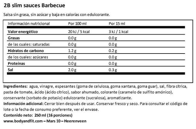 2BSLIM Salsa Barbecue Nutritional Information 1