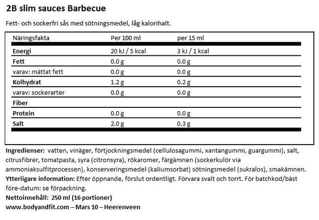 2BSlim BBQ Sauce Nutritional Information 1