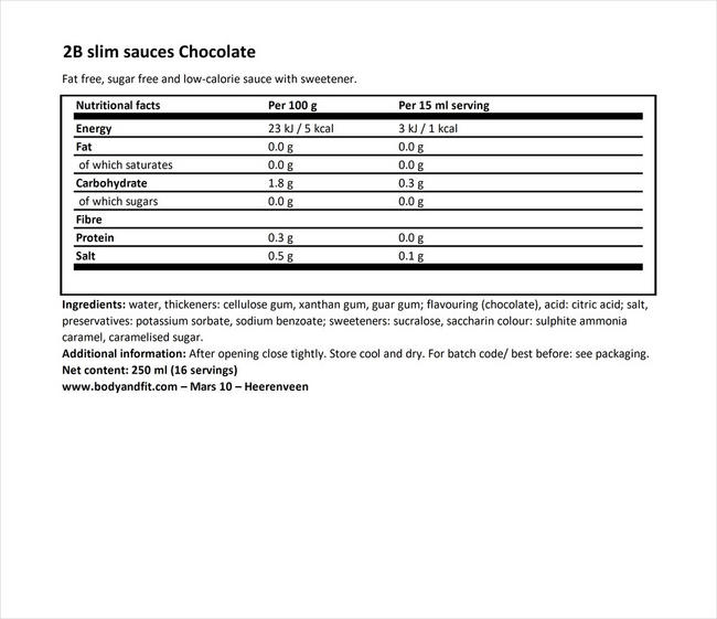 2BSlim 초콜릿 소스 Nutritional Information 1