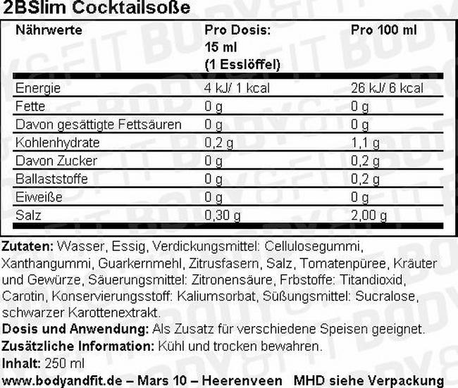 2BSlim Cocktailsoße Nutritional Information 1