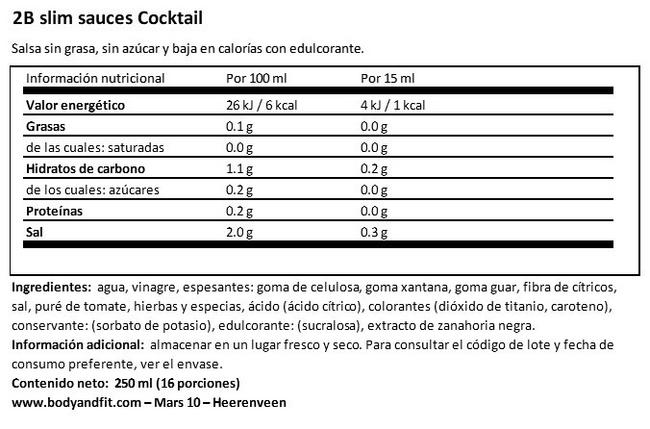 2Bslim Salsa Cóctel Nutritional Information 1
