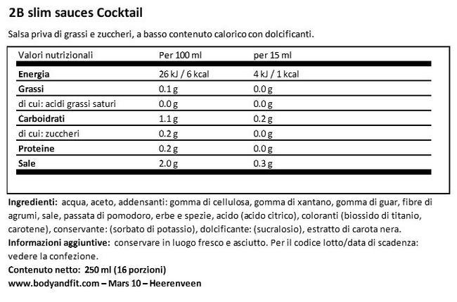 Salsa Cocktail 2BSlim Nutritional Information 1