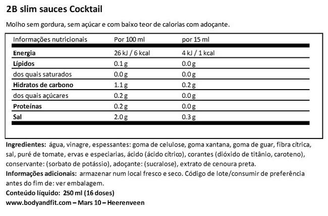2BSlim Cocktail sauce Nutritional Information 1