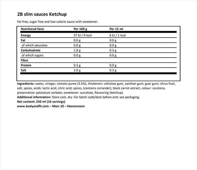 2BSlim 케첩 Nutritional Information 1