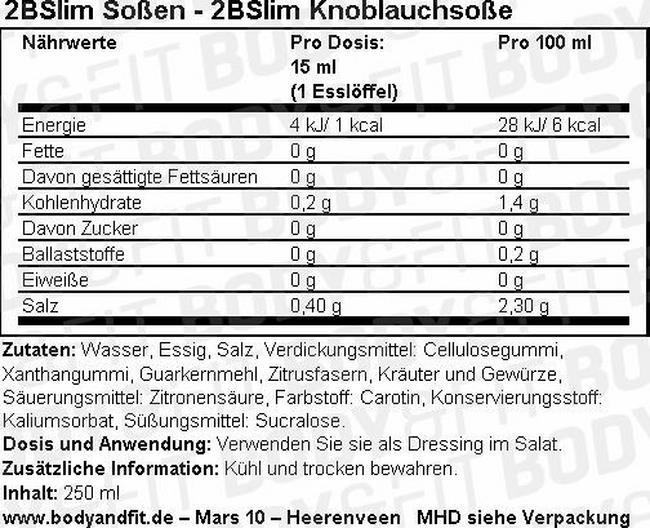2BSlim Knoblauchsoße Nutritional Information 1