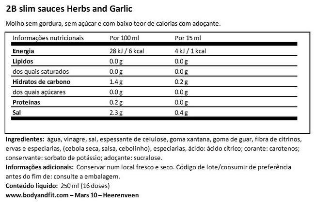 2BSlim Garlic Sauce Nutritional Information 1