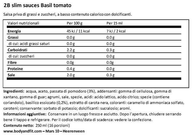 Salsa Pomodoro Basilico 2BSlim Nutritional Information 1