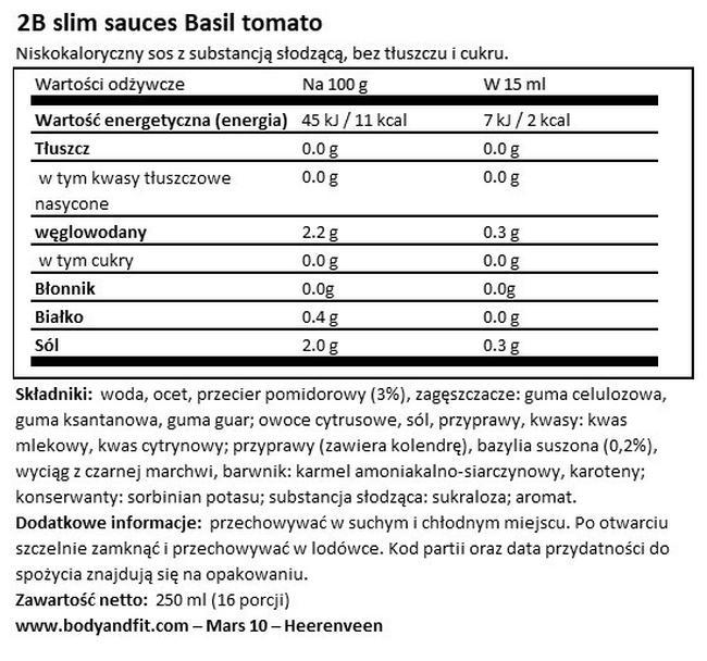 Sos pomidorowy z bazylią 2BSlim Nutritional Information 1