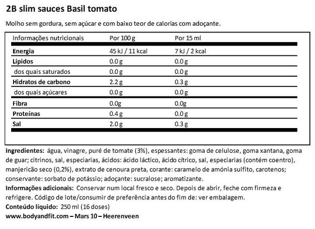 2BSlim Tomato Basil Sauce Nutritional Information 1