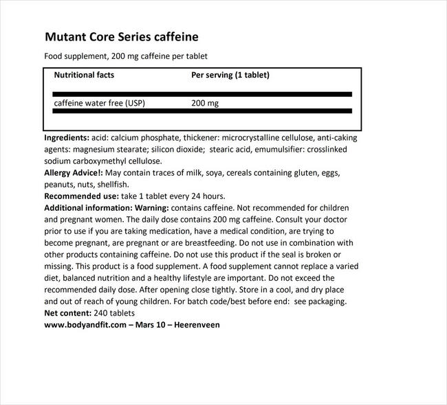 Core Series Caffeine Nutritional Information 1