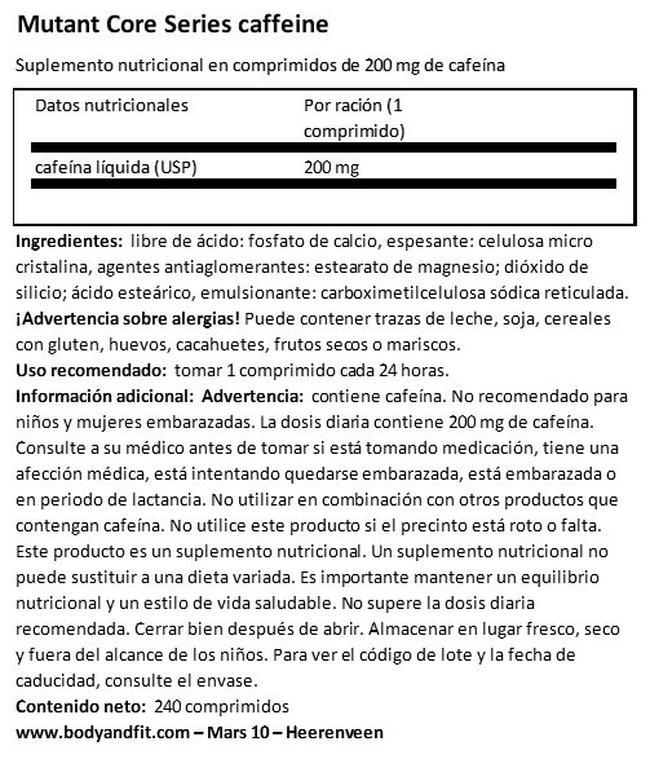 Core Series Caffeine Nutritional Information 1