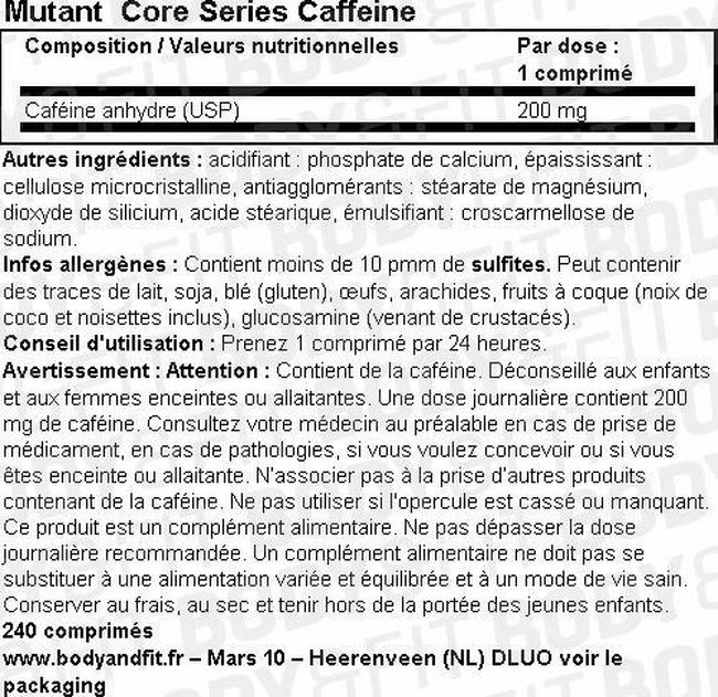 Caféine Core Series Caffeine Nutritional Information 1
