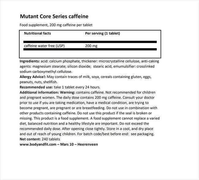コアシリーズカフェイン Nutritional Information 1