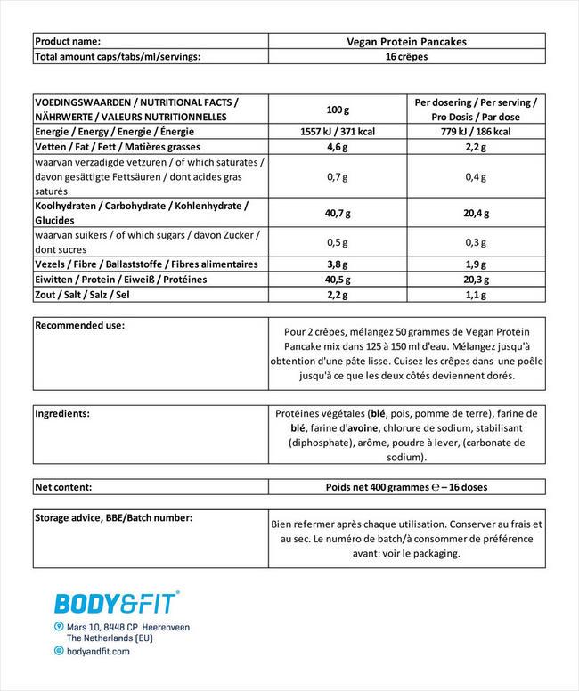 Vegan Protein Pancakes Nutritional Information 1