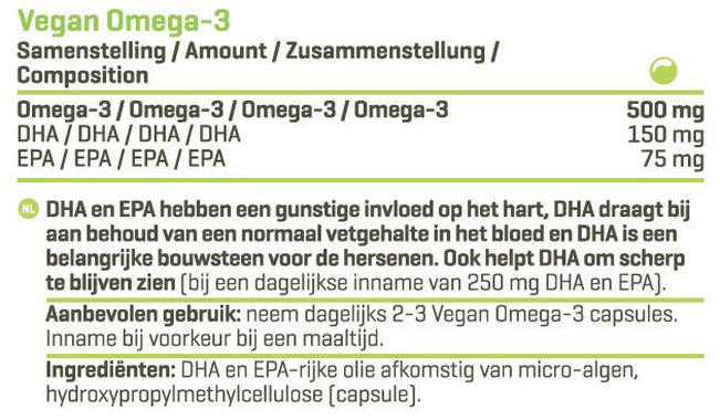 Vegan Omega-3 Nutritional Information 1