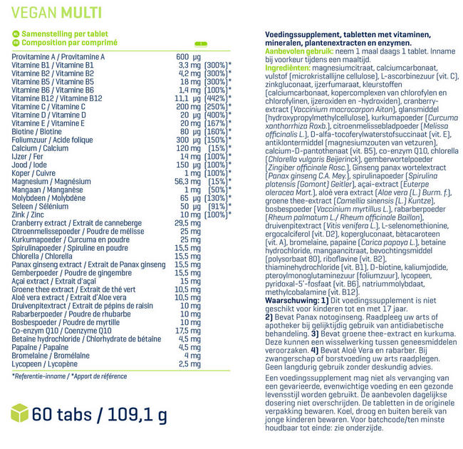 Vegan Multi Nutritional Information 1