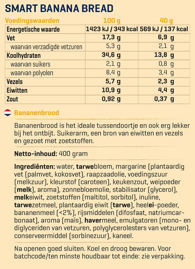 Smart Bananenbrot Nutritional Information 1