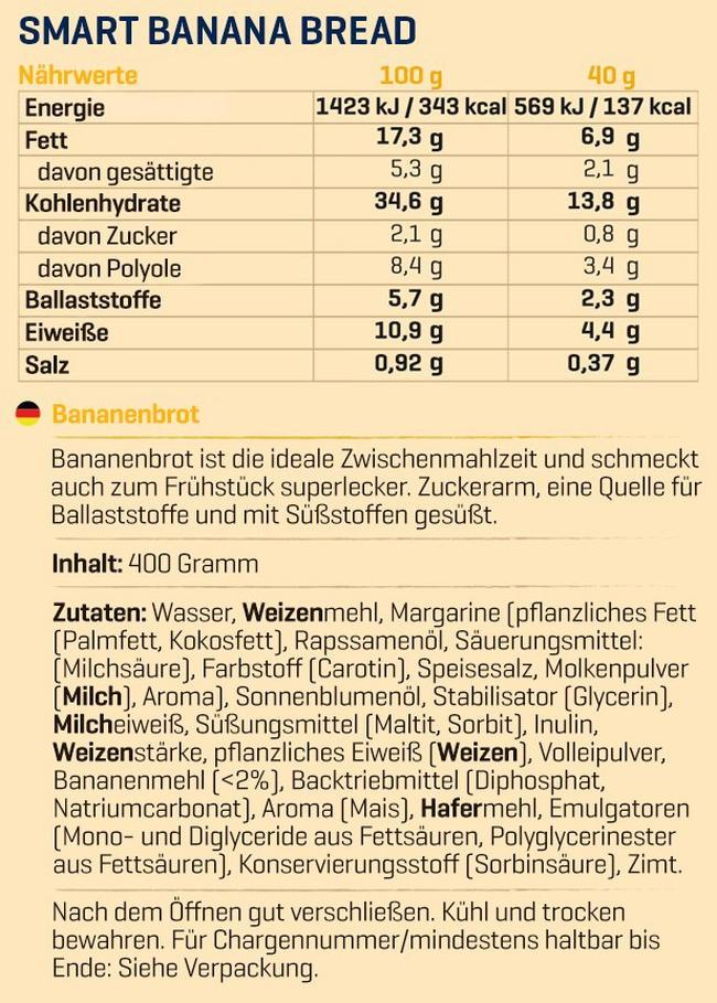 Smart Bananenbrot Nutritional Information 2