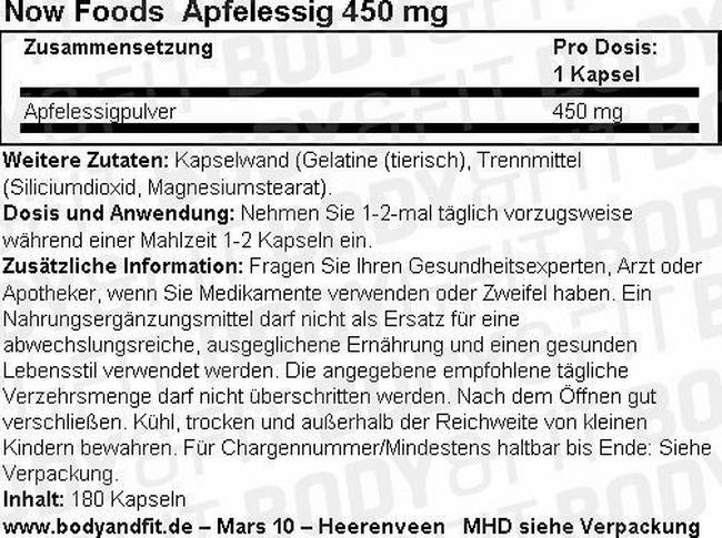 Apfelessig 450 mg Nutritional Information 1
