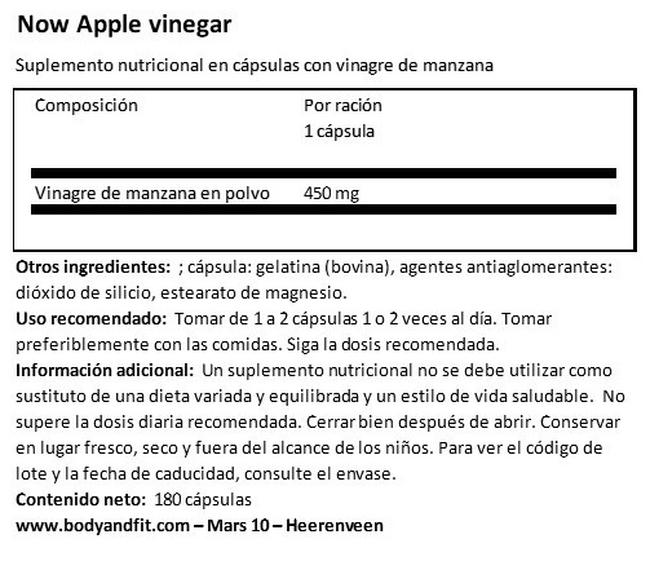 Apple Cider Vinegar Nutritional Information 1