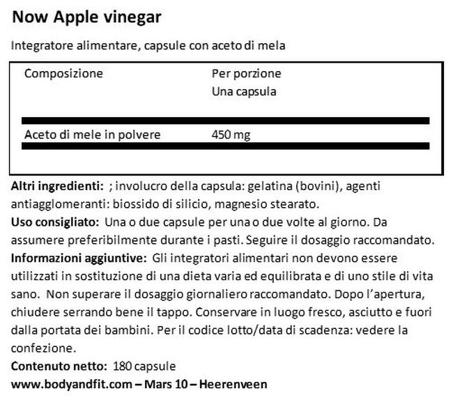 Aceto di sidro di mele in capsule Nutritional Information 1