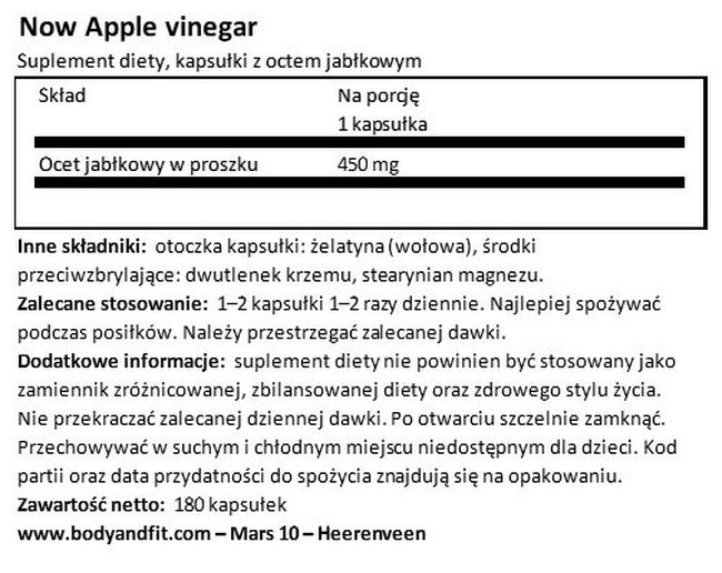 Apple Cider Vinegar Nutritional Information 1