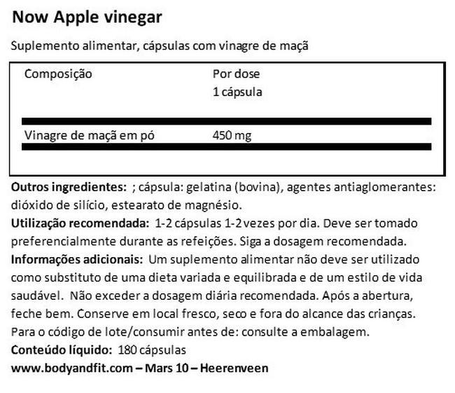 Vinagre de cidra de maçã Nutritional Information 1