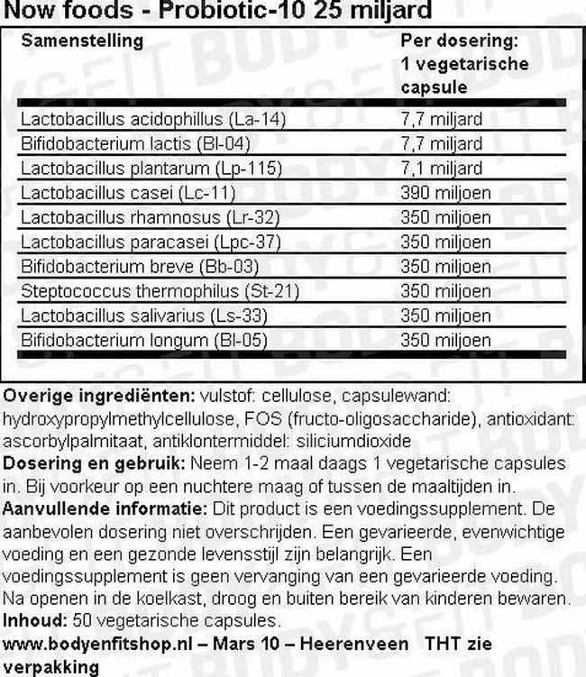 Probiotic 10™ 25 Miljard Nutritional Information 1