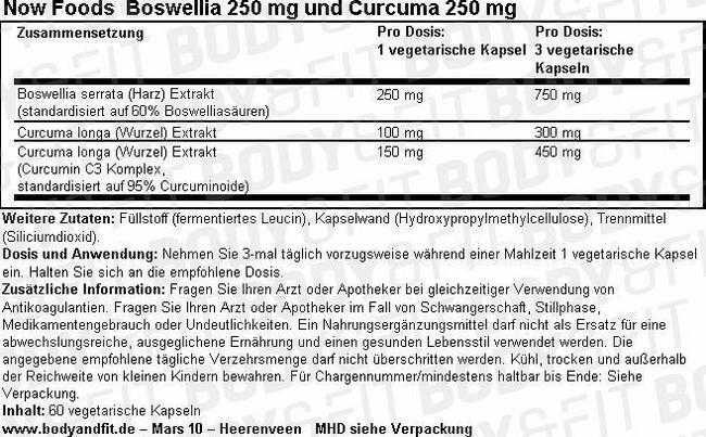 Boswellia 250 mg und Curcuma 250 mg Nutritional Information 3