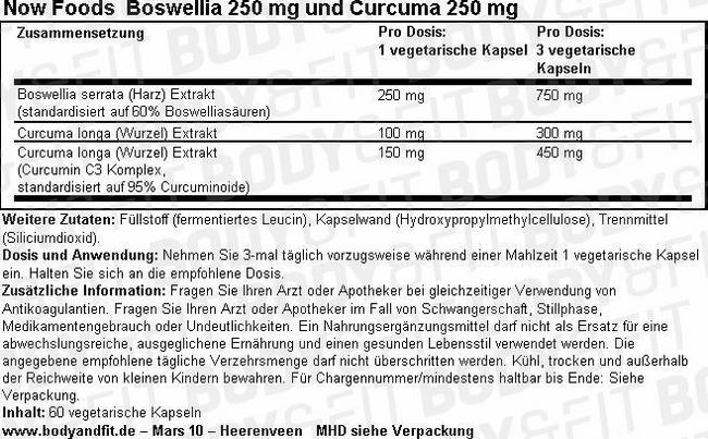 Boswellia Extract 250mg Nutritional Information 1